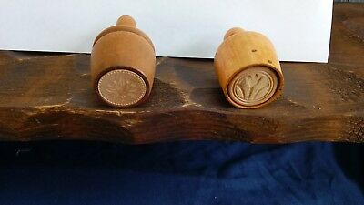 antique wooden butter molds lot of two