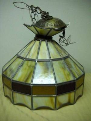 Vintage SLAG Glass Leaded Stained Glass Hanging Lamp Amber Red Cream Tiffany