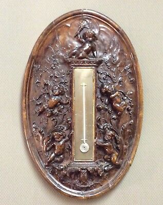 Barometer French/Italian 19th century carved walnut vert UNIQUE