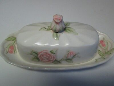 Vintage Vernon Ware By Metlox Pottery Pink Rose Butter Dish Made in California