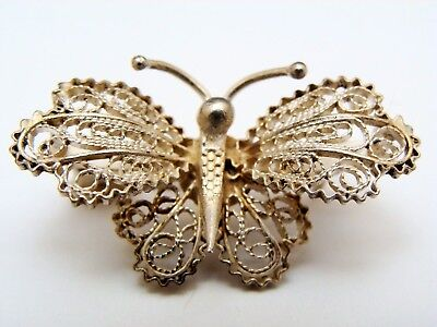 Antique 800 Silver Filigree Butterfly Pin Brooch Italian Gorgeous