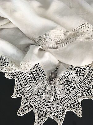 Antique Butter White Ecru Handmade Linen Coverlet Canopy W/ Crocheted Lace