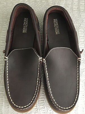 KENNETH COLE REACTION Boys NEW Sz 5 Youth Big Kids Brown Loafers LEATHER Shoes