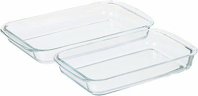 Pack of 2 Sizes Borosilicate Oblong Glass All-in-1 Baking Serving Reheat Dishes