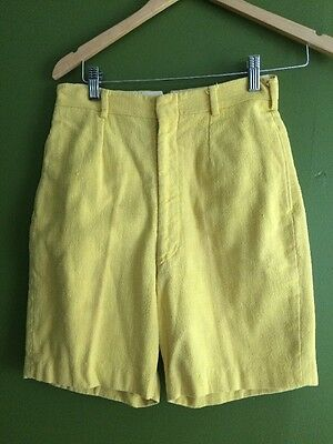 """Vintage 50s Yellow Cotton Knit Shorts By Mister Pants 26"""" Waist Pinup"""