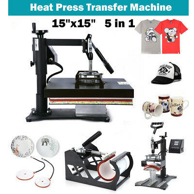"15""x15"" 5 IN 1 Combo T-Shirt Heat Press Transfer Machine Sublimation Swing Away"