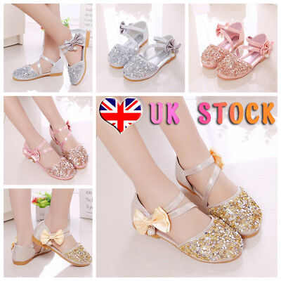 UK Kids Girls Bowknot Sequins Sandals Princess Flats Party Casual Shoes Size