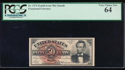 AC Fr 1374 $0.50 1869 fractional fourth issue PCGS 64 LINCOLN
