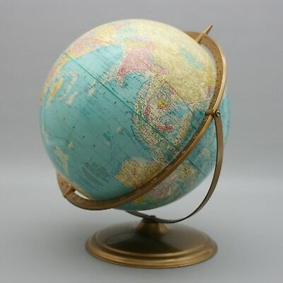 """Vintage 1950's Cram's Scope O Sphere World 12"""" Globe Metal Stand Earth Axis USSR"""
