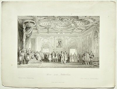 Throne - room, Fontainbleau., T. Allom, France Illustrated, Antique Print 1845