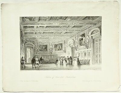 Salon of Louis XIII, Fontainbleau, Allom, France Illustrated, Antique Print 1845