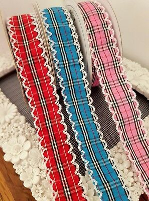 DOUBLE SIDED SATIN RIBBON WITH PICOT EDGE 14mm 3yds 3 COLOURS AVAILABLE