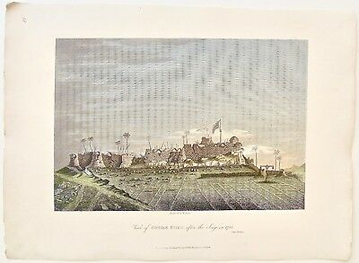 View of Onore Fort after the Siege in 1783. 'Oriental Memoirs.1813 India Antique