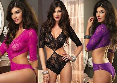 Leg Avenue Sexy Floral Lace Deep-V Cut Out Teddy/Body W/ Full Back Panty O/S
