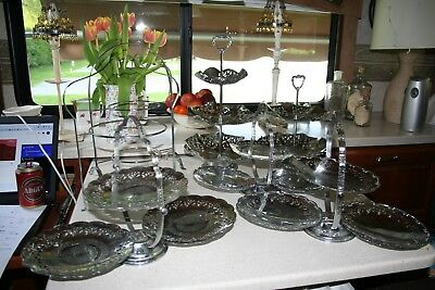 A job lot of 7 Chrome cake stands