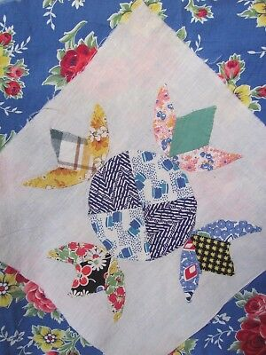 "FEEDSACK HUMMINGBIRD QUILT BLOCK 12"" sq HAND-Applique c1935-45's"