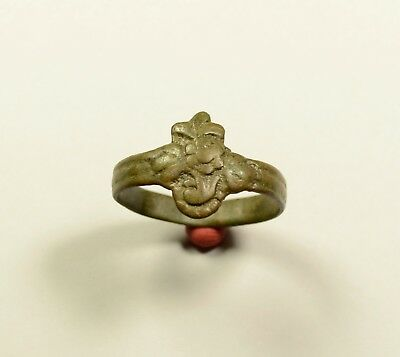Lovely Medieval Bronze Ring With Flower On Bezel - Wearable