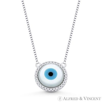 Evil Eye Charm Mother-of-Pearl & CZ 13mm Pendant Necklace in 925 Sterling Silver