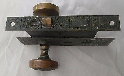 Antique Exterior Door Knob Combination W/lock, Brass Back Plate, Escutcheon  335