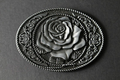 American Red Rose Belt Buckle Metal Western Floral Solid