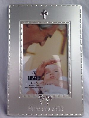 "Picture Frame Silver For 4""x6"" Photo With Cross & Bow "" BLESS THIS CHILD"" *NEW*"