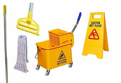 Professional Cleaning Set Yellow Kentucky Mop Bucket 1x Mop & Stick 2x Wet Sign