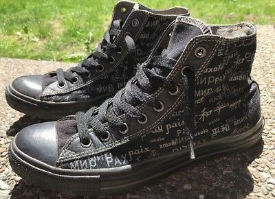 Vintage Men's Converse All Stars Chuck Taylor Hi-Top PEACE in 13 Languages Sz 11