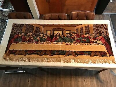 "Vintage The Last Supper Tapestry Wall Hanging Fringed Home Decor 68"" x 28"""