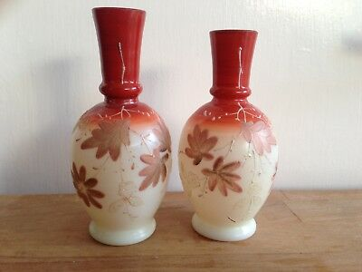 Pair of Antique Glass Vases Floral Decoration Nice Colours