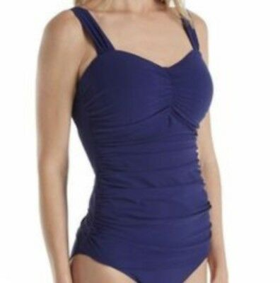 8775dcdfbb NWT Profile by Gottex Plus Size Shirred Underwire Tankini Top, Ink, 20W