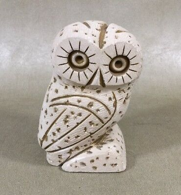 """Hand Crafted From Porous Stone 3.5"""" Owl #13 Made In Greece Guc"""