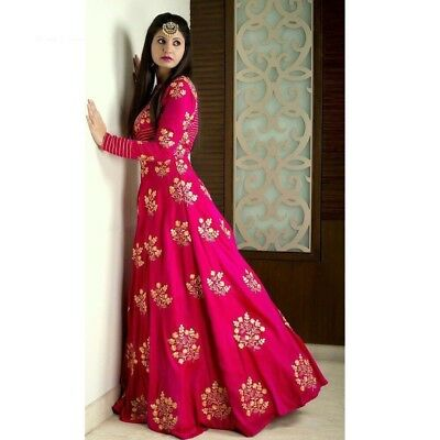 Indian Designer Party Ethnic Pink Embroidery Taffeta Unstitched Gown Dress Suit