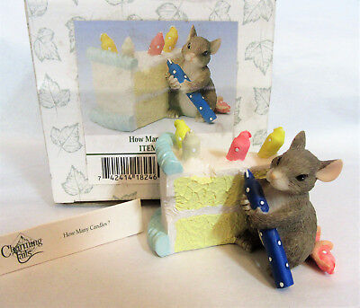 """Charming Tails """"HOW MANY CANDLES"""" Fitz Floyd Mouse Figurine"""