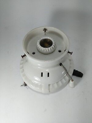 Vintage Art Deco Porcelain Porcelier Pull Light Bathroom Light Fixture Sconce