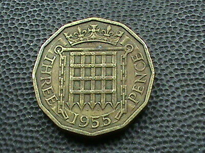 GREAT BRITAIN      3 Pence    1955   ,   $ 2.99  maximum  shipping  in  USA