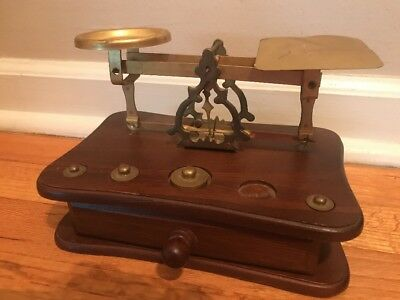 Vintage Wood/ Brass Postal Scale with Weights & Drawer