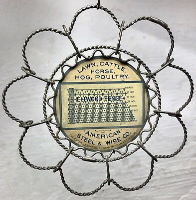 Antique 1910s Ellwood American Wire Fence Metal Chas Shonk Co Tin Litho Sign VTG