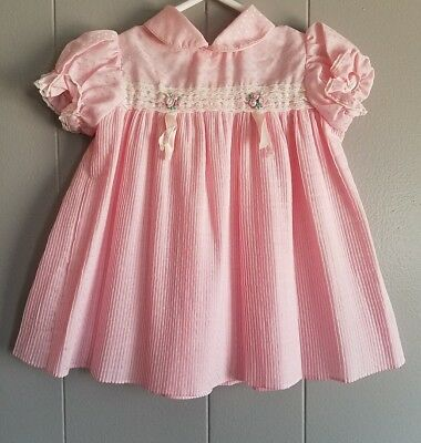 Vintage Infant Girls Pink Pleated Accordian Style Dress 12 months