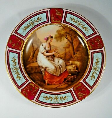 Royal Vienna hand painted & gilt cabinet plate signed K.Weh, 'Abra' Marked- 1900