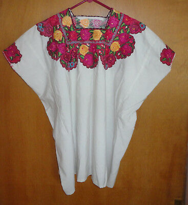 New White With Colorful Floral Design Cotton Hand Made In Guatemala Huipil