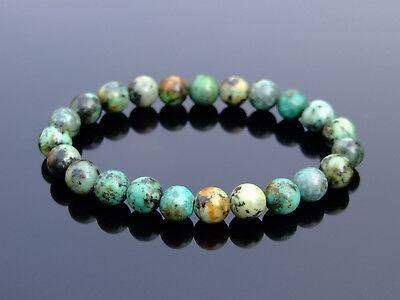 African Turquoise Natural Gemstone Bracelet 6-9'' Elasticated Healing Stone