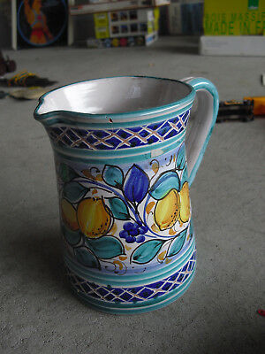 """Vintage Italy Art Pottery Signed Lemons Grapes Pitcher 5 1/2"""" Tall"""