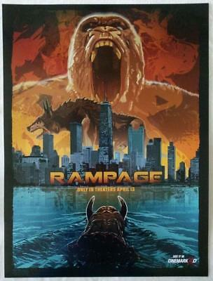 RAMPAGE 2018 Cinemark XD Original Exclusive Promo Movie Poster Dwayne Johnson