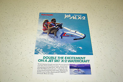 1 Kawasaki 1987 Jet Ski,X - 2, 635cc,NOS Sales Brochure 2 Pages.