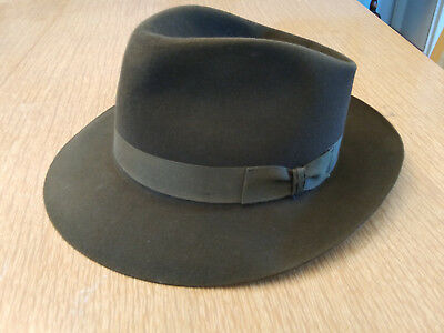 Stetson Royal Downs Fedora Hat in Olive - Size 7 1/4, 2 3/8 Brim with Box