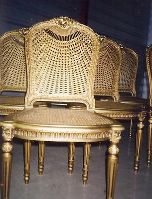 Antique French Louis XVI Style Gilt Dining Chairs (Set of 6)