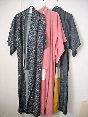 Vintage long Japanese kimonos three pieces, assorted colors.  FREE SHIPPING