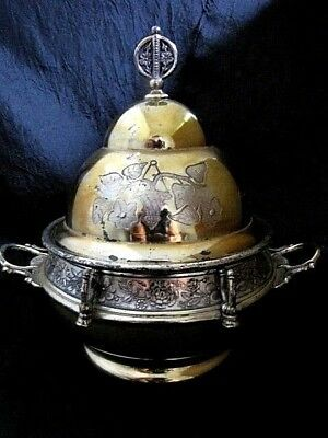 1887 Dated Very Fancy Dome Top Lidded Butter Dish W/ Handles Acme Silver Plate