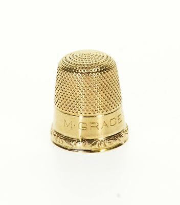 14K Ornate Textured Thimble Sewing Yellow Gold  *29