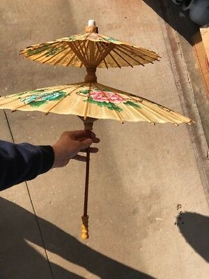 Vintage Double Umbrella Laquer Rice Paper Parasol Asian umbrella Bamboo wood